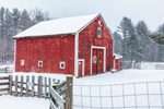Red Barn and Wood Fences during Snowstorm, Brookline, NH