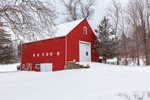 Big Red Barn in Winter after Snowstorm, Hollis, NH