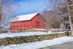 Red Barns and Stone Walls after Fresh Snowfall in Winter, Thompson, CT