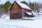 Natural Wood Barn in Winter at Apple Hill Farm, Rochester, VT