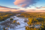 Sunset over Scott Brook in Winter with Mount Monadnock and Gap Mountain in Distance, View from Fitzwilliam, NH