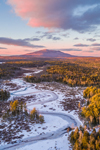Sunset over Scott Brook in Winter with Mount Monadnock in Distance, View from Fitzwilliam, NH