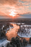 Nashua River and J. Harry Rich State Forest at Sunset in Winter, National Wild and Scenic River, Pepperell and Groton, MA