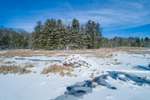 Snow-covered Beaver Lodge on Pond along Shunway Brook in Winter, North Grosvenordale, Thompson, CT