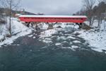 Taftsville Covered Bridge Spanning Ottauquechee River in Winter, Built 1836, Village of Taftsville, Woodstock, VT