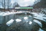 Lincoln Covered Bridge Spanning the Ottauquechee River in Winter, Built 1877, Woodstock, VT