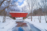 Cooley Covered Bridge Spanning Furnace Brook in Winter, Built 1849, Pittsford, VT