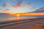 Sunrise over Atlantic Ocean at Cahoon Hollow Beach, Cape Cod National Seashore, Cape Cod, Wellfleet, MA