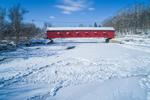 Buskirk Covered Bridge Spanning Hoosic River in Winter, Built 1857, Hamlet of Buskirk, Town of Hoosick, NY