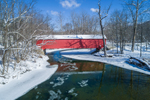 Eagleville Covered Bridge Spanning Battenkill River in Winter, Built 1858, Hamlet of Eagleville, Jackson and Salem, NY