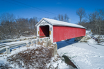 Rexleigh Covered Bridge Spanning Battenkill River in Winter, Built 1874, Town of Jackson and Salem, NY