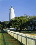Ocracoke Light with Fence and Trees, Ocracoke Island