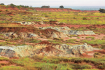 Red-Brown Shale and Gypsum on Small Buttes in Gloss (aka Glass) Mountains, near Fairview and Orienta, OK