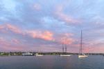 Sailboats and Ferry in Vineyard Haven Harbor at Sunrise, Martha's Vineyard, Tisbury, MA