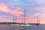 Sailboat and Schooners in Vineyard Haven Harbor at Sunrise, Martha's Vineyard, Tisbury, MA