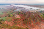 Early Morning Fog over Red-Brown Shale on Buttes in Gloss (aka Glass) Mountains, near Fairview and Orienta, OK