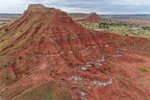 """Red-brown Shale with Gypsum """"Stripes"""" on Buttes in Gloss (aka Glass) Mountains, near Mooreland, OK"""