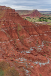 "Red-brown Shale with Gypsum ""Stripes"" on Buttes in Gloss (aka Glass) Mountains, near Mooreland, OK"