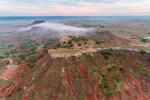 Early Morning Fog at Sunrise over Red-Brown Shale on Buttes in Gloss (aka Glass) Mountains, near Fairview and Orienta, OK