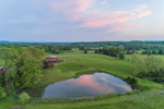 Barn and Small Pond with Farm Fields and Forests at Sunset, Baileyton, TN