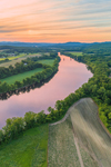 Connecticut River and Farm Fields at Sunset, Northfield, MA