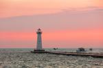 Outer Sodus Lighthouse (Sodus Point Pierhead Light) at Sunrise, Sodus Bay on Lake Ontario, Great Lakes Seaway Trail, Village of Sodus Point, Sodus, NY