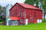 Old Red Barn with Silo, Finger Lakes Region, near Village of Penn Yan, NY