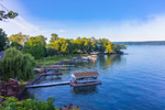 Docks at Plum Point on Seneca Lake in Early Evening Light, Finger Lakes Region, Himrod, NY