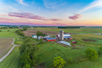 Sunrise over Farm and Fields near Seneca Lake, Finger Lakes Region near Randall Crossing, Town of Milo, NY