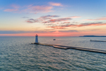 Outer Sodus Lighthouse (Sodus Point Pierhead Light) at Sunrise, Sodus Bay on Lake Ontario, Great Lakes Seaway Trail, Village of Sodus Point, Sodus, NY
