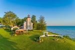 Early Morning Light Shines on Big Sodus Light (Old Sodus Point Lighthouse), Sodus Bay, Lake Ontario, Great Lakes Seaway Trail, Village of Sodus Point, Sodus, NY