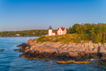 Early Morning Light Shines on Curtis Island Lighthouse at Entrance to Camden Harbor, Camden, ME