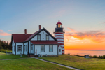 West Quoddy Head Lighthouse at Sunrise, Quoddy Head State Park, Lubec, ME