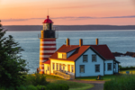 First Light Shines on West Quoddy Head Lighthouse at Sunrise, Quoddy Head State Park, Lubec, ME