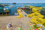 Colorful Lobster Traps, Buoys, and Boats at Wharf in Barney Cove, Beals Island, Town of Beals, ME