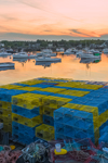 Colorful Lobster Pots on Wharf and Lobster Boats in Corea Harbor in Early Evening Light, Corea, ME