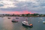 Lobster Boats in Jonesport Harbor under Stormy Skies at Sunset, Jonesport, ME