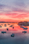 Spectacular Sunrise over Lobster Boats in Barney Cove and Moosabec Reach with Jonesport in Background, View from Beals Island, Town of Beals, ME