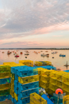 Colorful Lobster Pots on Wharf and Boats in Barney Cove at Sunrise, Beals Island, Town of Beals, ME