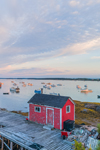 Red Shack on Wharf at Sunrise in Barney Cove, Beals Island, Town of Beals, ME