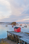 Little Red Shack on Wharf at Sunrise in Barney Cove, Beals Island, Town of Beals, ME