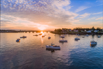 Sunrise over Lobster Boats in Barney Cove and Moosabec Reach with Jonesport in Background, View from Beals Island, Town of Beals, ME