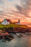 Dramatic Predawn Light at Curtis Island Lighthouse, West Penobscot Bay at Entrance to Camden Harbor, Camden, ME