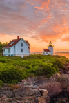 Dramatic Sunrise at Curtis Island Lighthouse, West Penobscot Bay at Entrance to Camden Harbor, Camden, ME