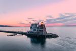 Rockland Breakwater Light at Sunrise, Rockland Harbor, West Penobscot Bay, Rockland, ME