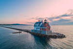 Rockland Breakwater Light at Sunrise, Rockland Harbor, West Penobscot Bay, Rockland, ME