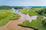 Tidal Creeks and Salt Marshes on East Machias River at Low Tide, near Shipyard Cove and Simpson Island, East Machias, ME