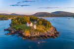 Early Morning Light Shines on Curtis Island Lighthouse, West Penobscot Bay at Entrance to Camden Harbor, Camden, ME