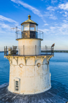 Bald Eagle Perched on Balcony Rail of Lubec Channel Light in Early Morning, Lubec Channel, Lubec, ME