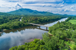 Connecticut River at Confluence with Sugar River with Mount Ascutney in Vermont in Distance, View from Claremont, NH